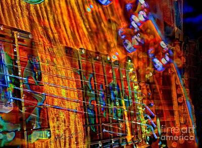 Vibrations Digital Guitar Art Bt Steven Langston Print by Steven Lebron Langston
