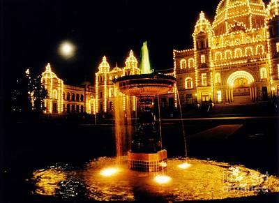 Victorain Fountain At Night Print by John Malone