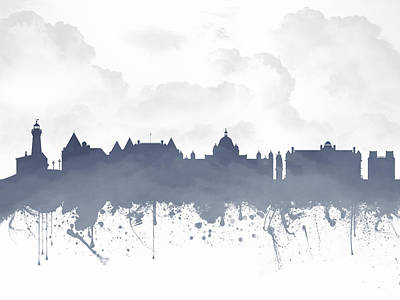 Victoria Mixed Media - Victoria British Columbia Skyline - Blue 03 by Aged Pixel