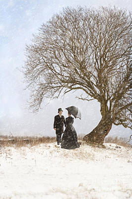 Husband Waiting Photograph - Victorian Couple Beneath A Tree In Winter by Lee Avison