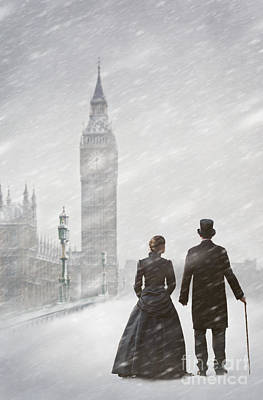 Husband Waiting Photograph - Victorian Couple In London Snow Storm by Lee Avison