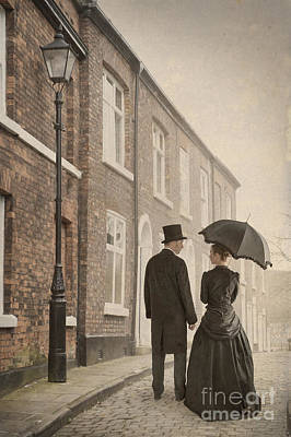 Husband Waiting Photograph - Victorian Couple On A Cobbled Street by Lee Avison