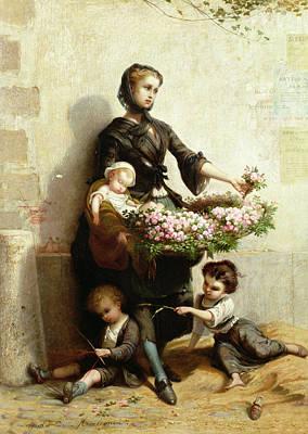 Victorian Flower Seller Print by Leopold de Moulignon