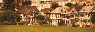 Digital Art - Victorian Houses In Sf Painting by Asbjorn Lonvig