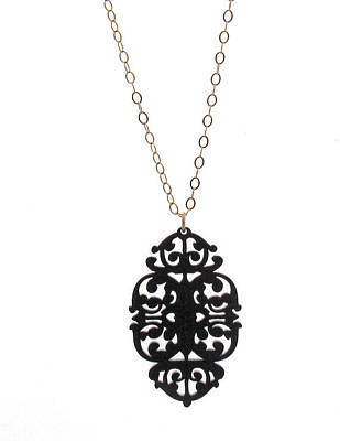 Perspex Necklace Jewelry - Victorian Lace Statement Long Necklace by Rony Bank