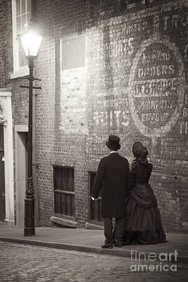 Husband Waiting Photograph - Victorian Man And Woman By Street Light by Lee Avison