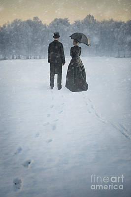 Husband Waiting Photograph - Victorian Man And Woman In Snow by Lee Avison