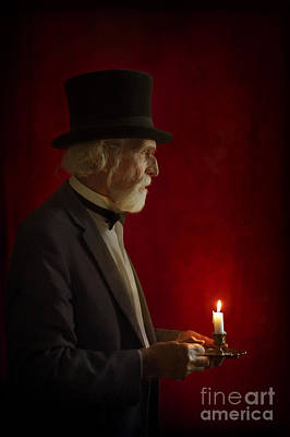 Victorian Man With Top Hat By Candle Light Print by Lee Avison