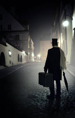 Victorian Man With Top Hat Carrying A Suitcase Walking In The Old Town At Night Print by Jaroslaw Blaminsky