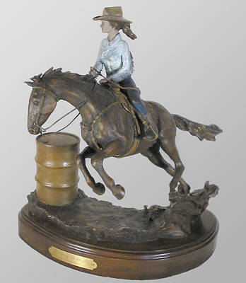 Cowgirl Sculpture - Victory In Sight by Hugh Blanding