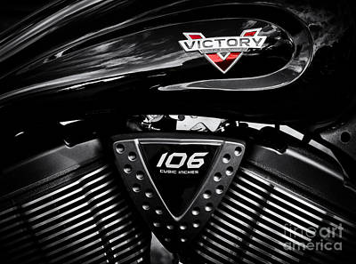 Motorbike Photograph - Victory Monochrome by Tim Gainey