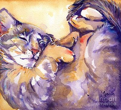 Cat Painting - Vida by Maria's Watercolor