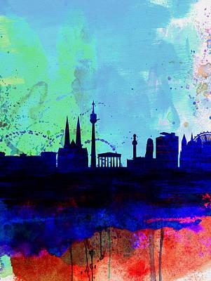 Vienna Painting - Vienna Watercolor Skyline by Naxart Studio
