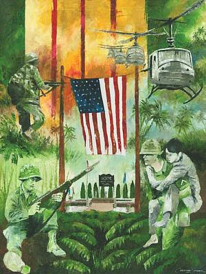 Helicopter Painting - Vietnam War Tribute by Christiaan Bekker