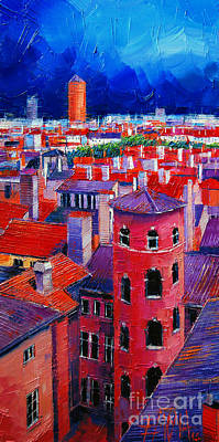 Contemporary Oil Painting - Vieux Lyon Rooftops  by Mona Edulesco