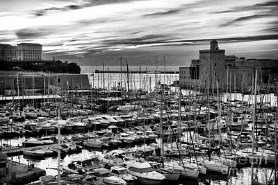 Vieux Port At Night Bw Print by John Rizzuto