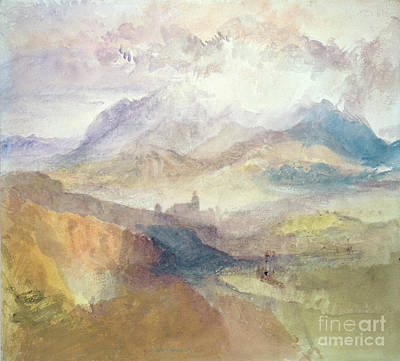 View Along An Alpine Valley Possibly The Val D'aosta Print by Joseph Mallord William Turner
