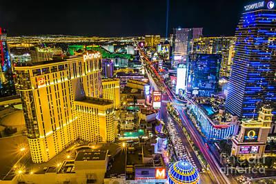 View At South Strip Las Vegas Boulevard Print by Andre Babiak