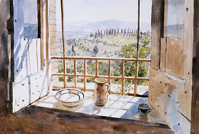 Tuscan Hills Drawing - View From A Window by Lucy Willis