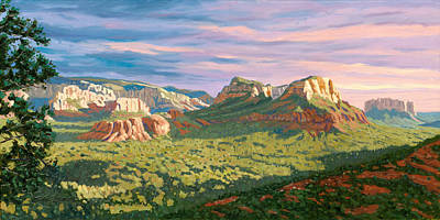 Airport Painting - View From Airport Mesa - Sedona by Steve Simon