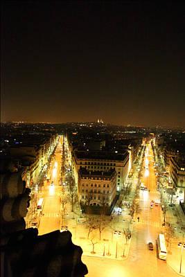 Road Photograph - View From Arc De Triomphe - Paris France - 01132 by DC Photographer