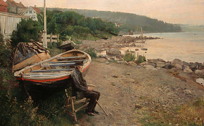 Old Man Fishing Painting - View From Asgardstrand by Mountain Dreams