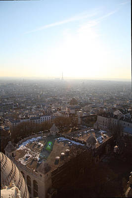 View From Basilica Of The Sacred Heart Of Paris - Sacre Coeur - Paris France - 011312 Print by DC Photographer