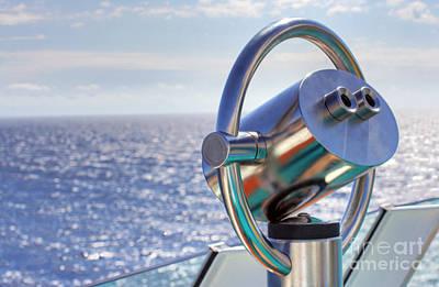 View From Binoculars At Cruise Ship Print by Lars Ruecker