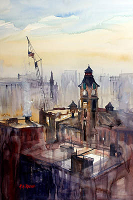 Impressionistic Painting - View From The 14th Floor - Milwaukee by Ryan Radke