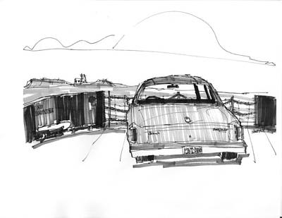 North Carolina Drawing - View From The Hatteras Ferry by Richard Wambach