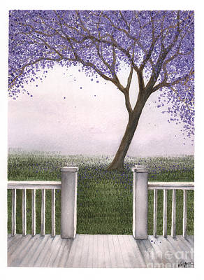 Jacaranda Painting - View From The Porch by Hilda Wagner
