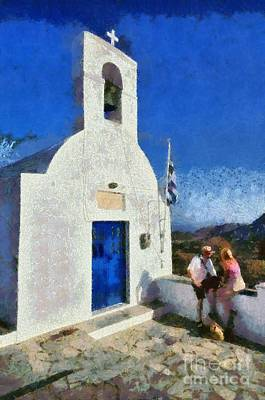 Women Painting - View From The Top Of Serifos Island by George Atsametakis