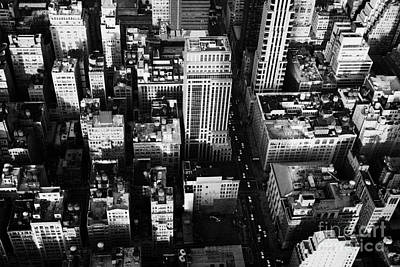 View North And Down Towards Building Rooftops And Fifth 5th Avenue Ave From Empire State Building Print by Joe Fox