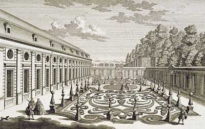 View Of A Flower Garden Near Vienna Print by Georg Daniel Heumann