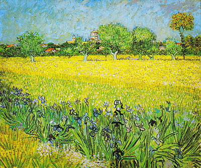 Sky Painting - View Of Arles With Irises by Celestial Images