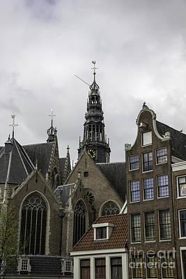 View Of Bell Tower Oude Kerk Amsterdam Print by Teresa Mucha