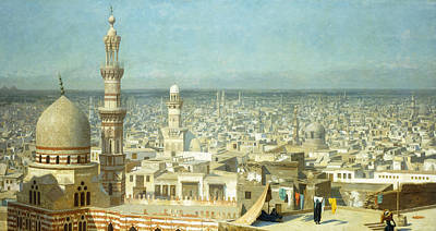 Rooftops Painting - View Of Cairo by Jean Leon Gerome