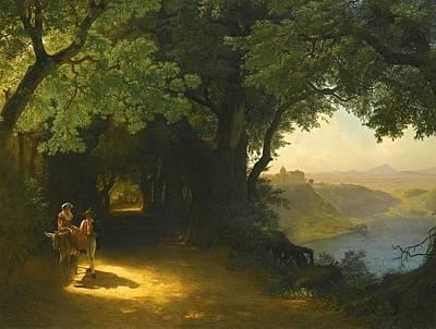 Lev Lagorio Painting - View Of Castel Gandolfo And Lake Albano by Lev Feliksovich Lagorio