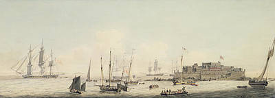 View Of Castle Cornet Guernsey With Shipping Print by John Thomas Serres