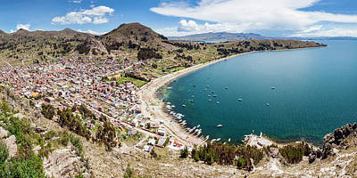 Birds Eye View Photograph - View Of Copacabana And Lake Titicaca by Panoramic Images