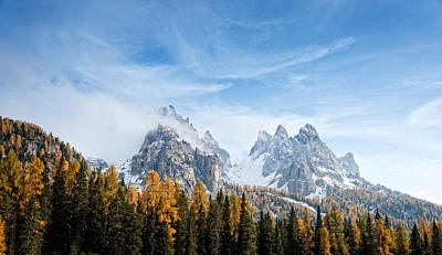 Dolomite Photograph - View Of Dolomite Mountains In Fall by Panoramic Images