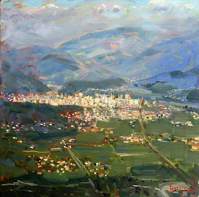 Mountain Valley Painting - View Of Elbasan City by Ylli Haruni