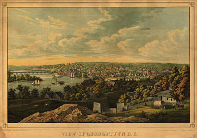 Old Map Drawing - View Of Georgetown Washington D C by Celestial Images