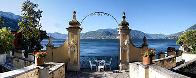 Built Structure Photograph - View Of Lake Como From A Patio by Panoramic Images