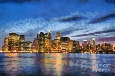 City Painting - View Of Manhattan From Brooklyn Heights During Sunrise by George Atsametakis