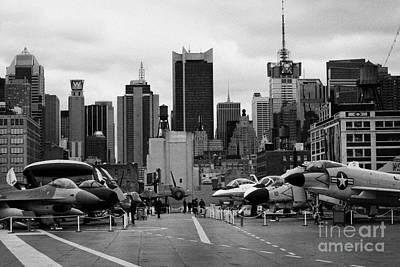 View Of Manhattan From The Flight Deck Of The Uss Intrepid  New York City Print by Joe Fox