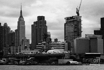 view of manhattan skyline USS Intrepid Aircraft Carrier new york city nyc Print by Joe Fox