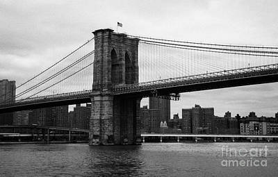 View Of New York From Beneath The Brooklyn Bridge New York City Print by Joe Fox