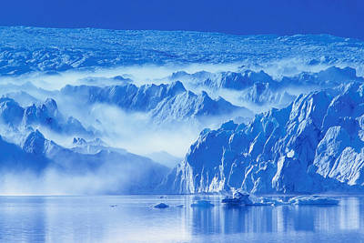 View Of Pederson Glacier In Fog Kenai Print by Michael DeYoung