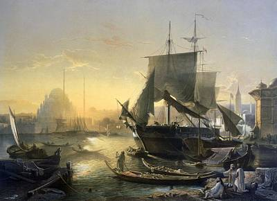 Dock Drawing - View Of Shipping On The Bosphorus by German School